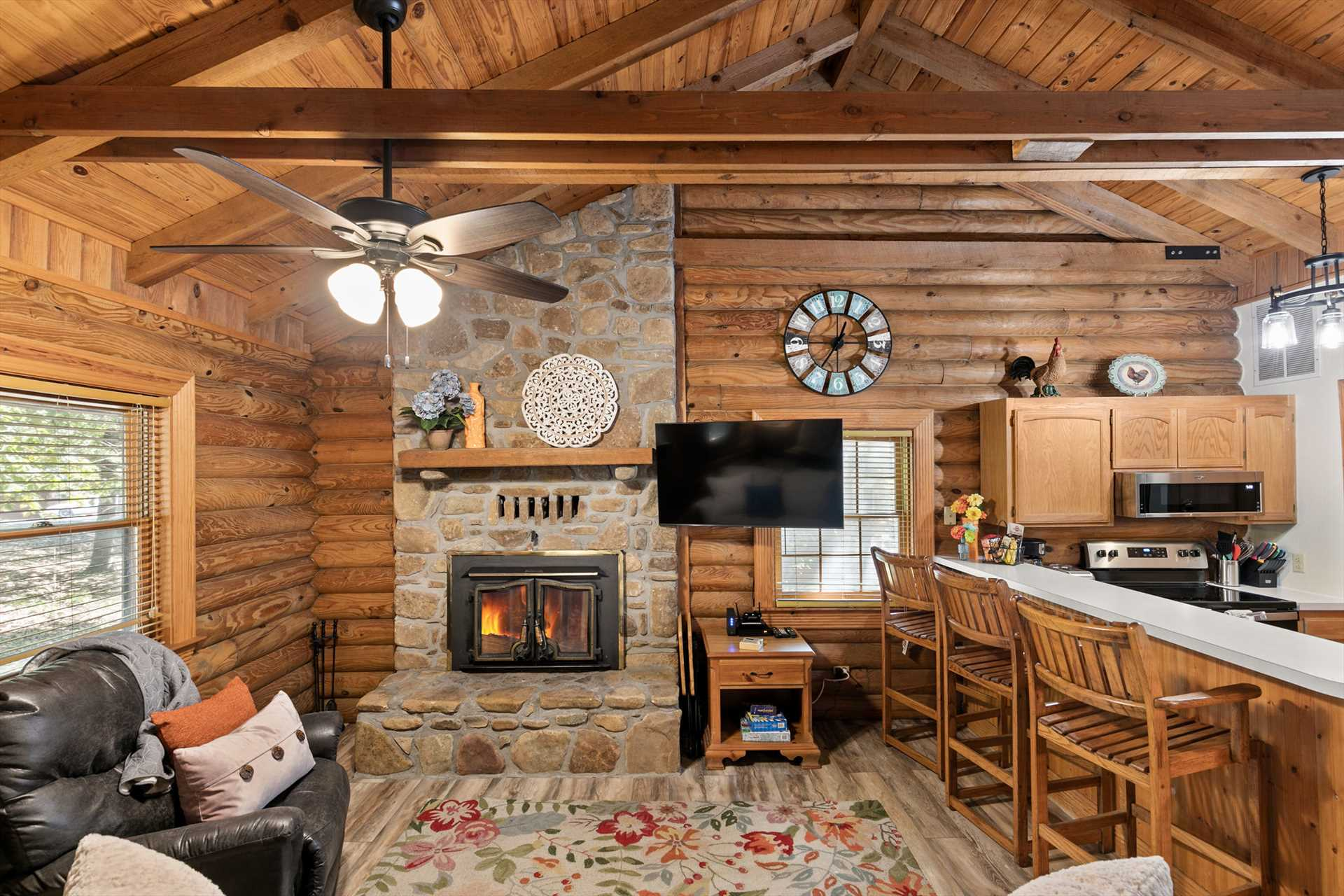 The wood burning fireplace is a highlight of the cabin.