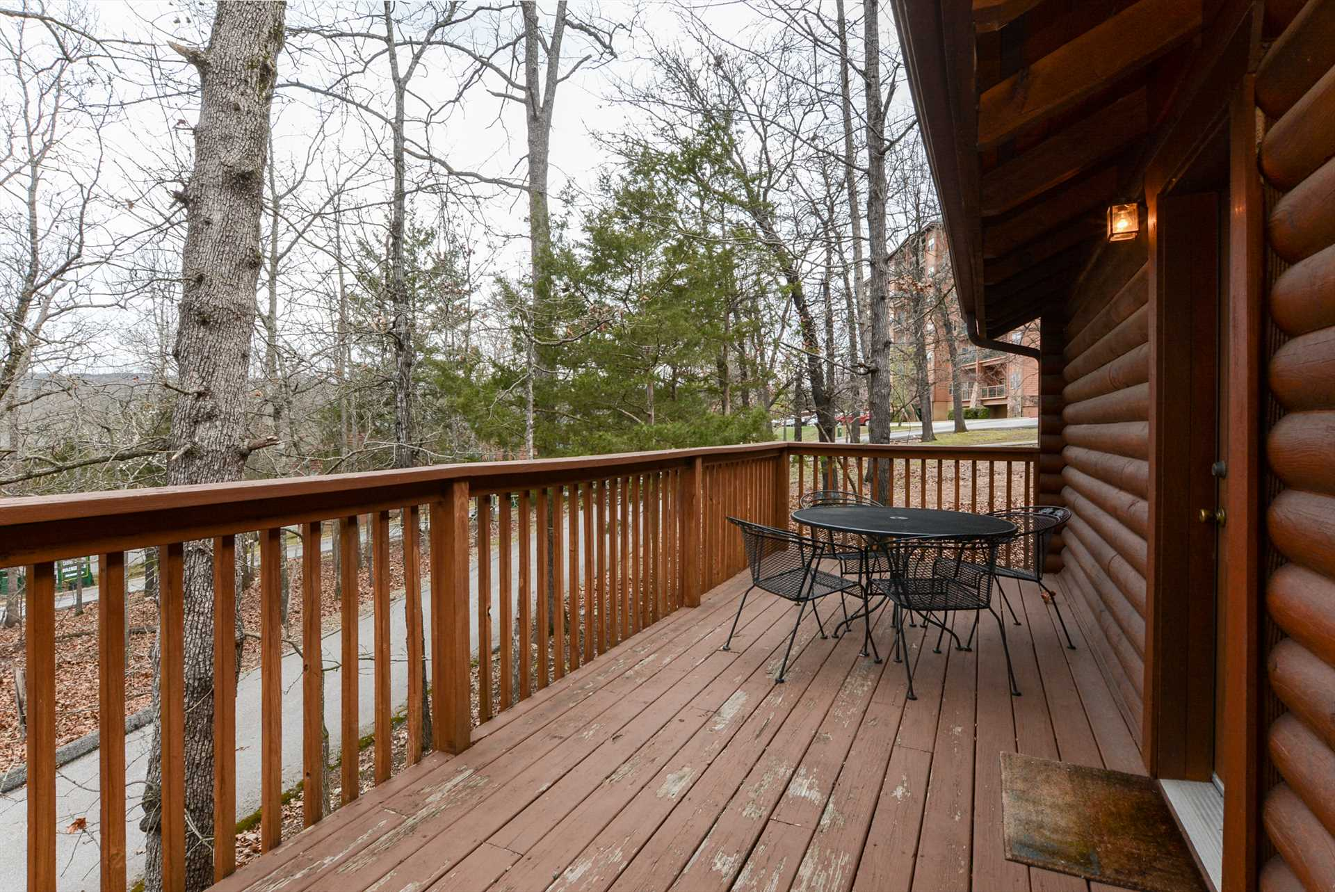 The back deck is a great place to relax after a busy day in