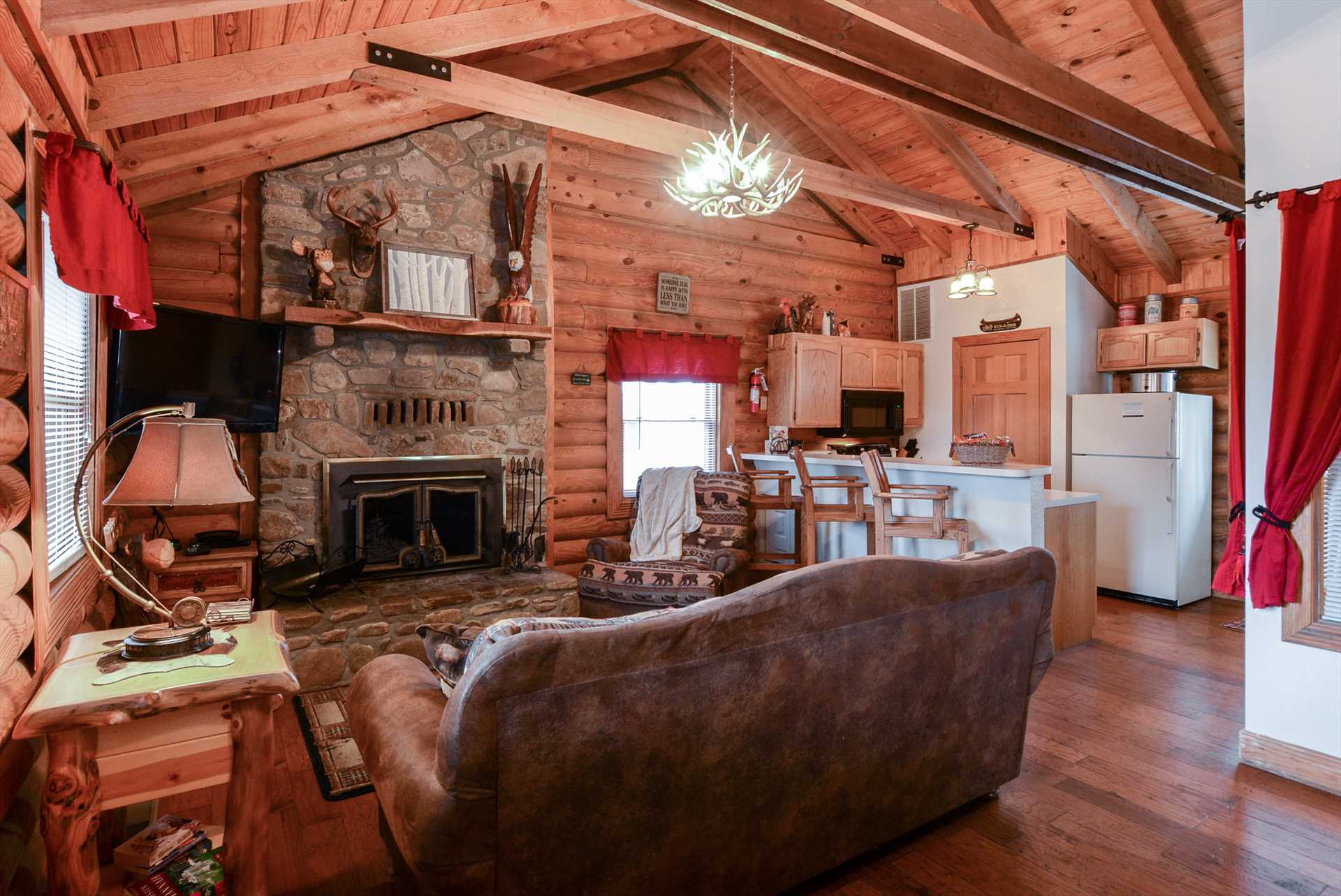 No log cabin is complete without exposed wooden beams.