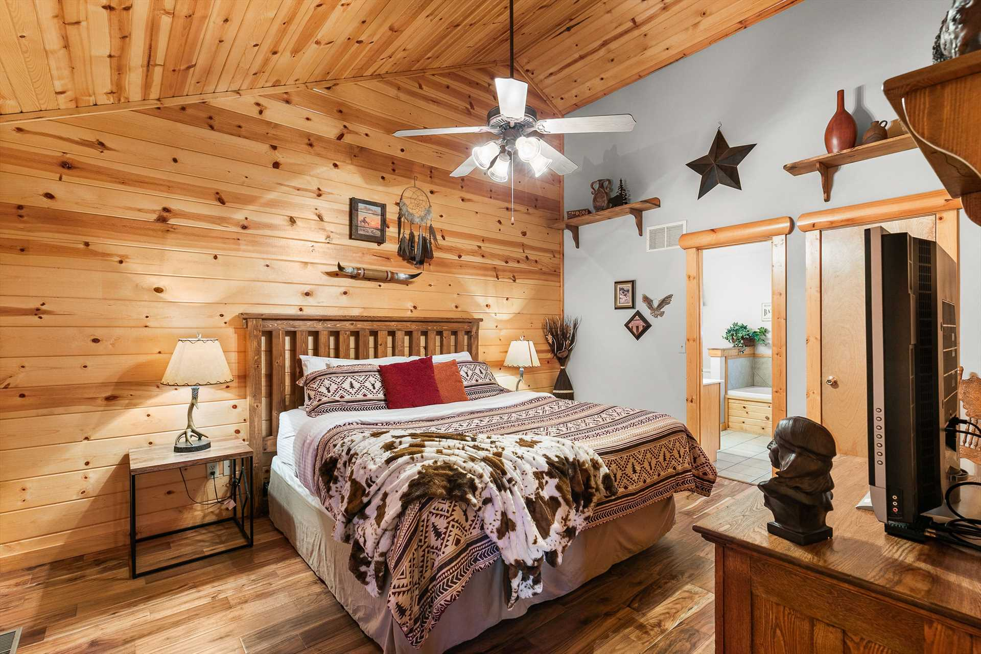 Each bedroom has its own unique and charming decor.
