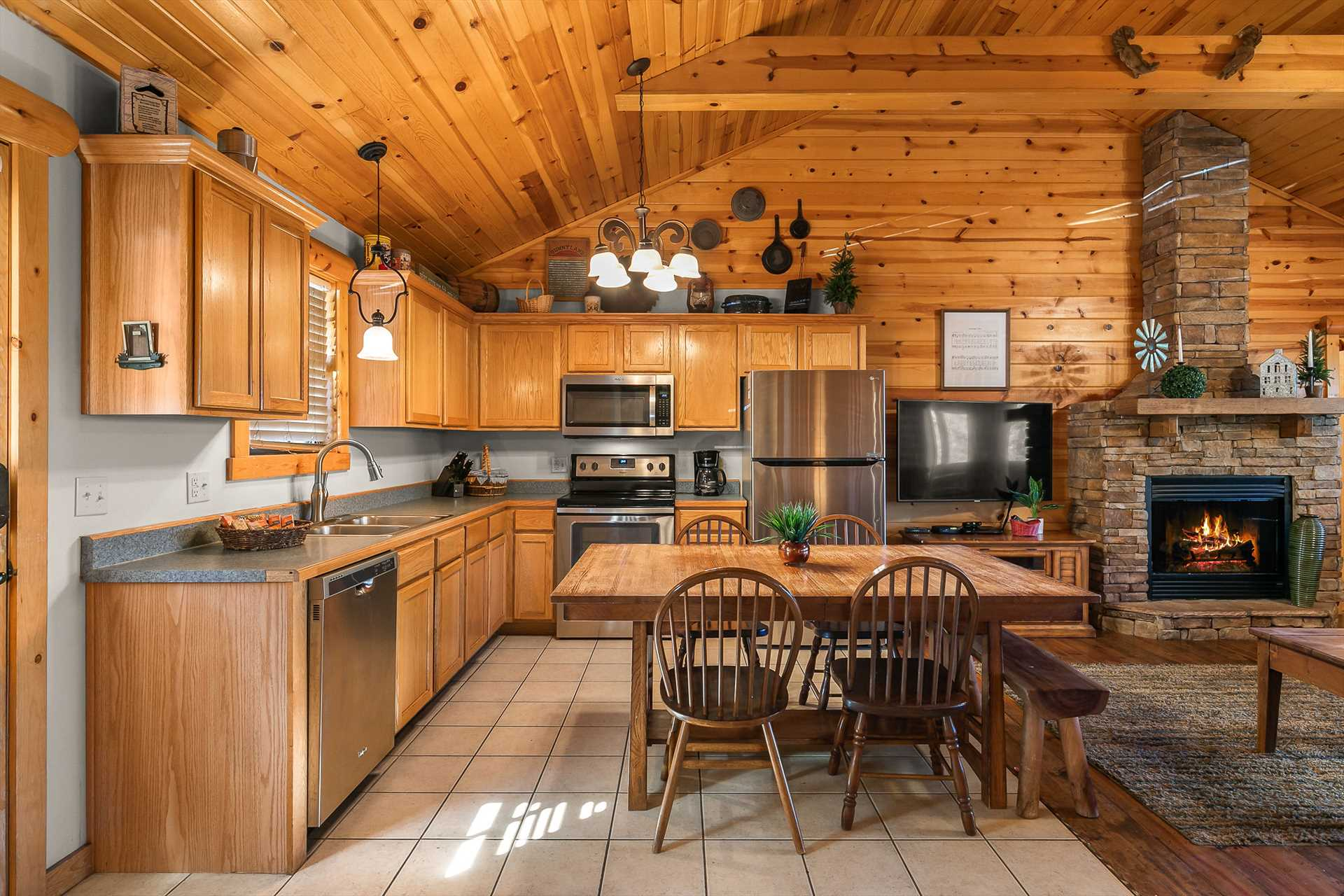 The fully-equipped kitchen comes with everything you need to
