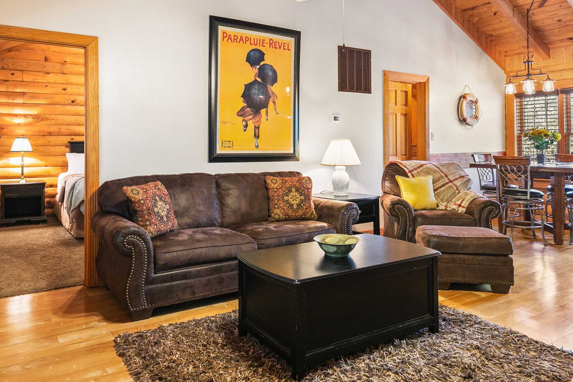 The sleeper sofa is fitted with luxury linens to accommodate