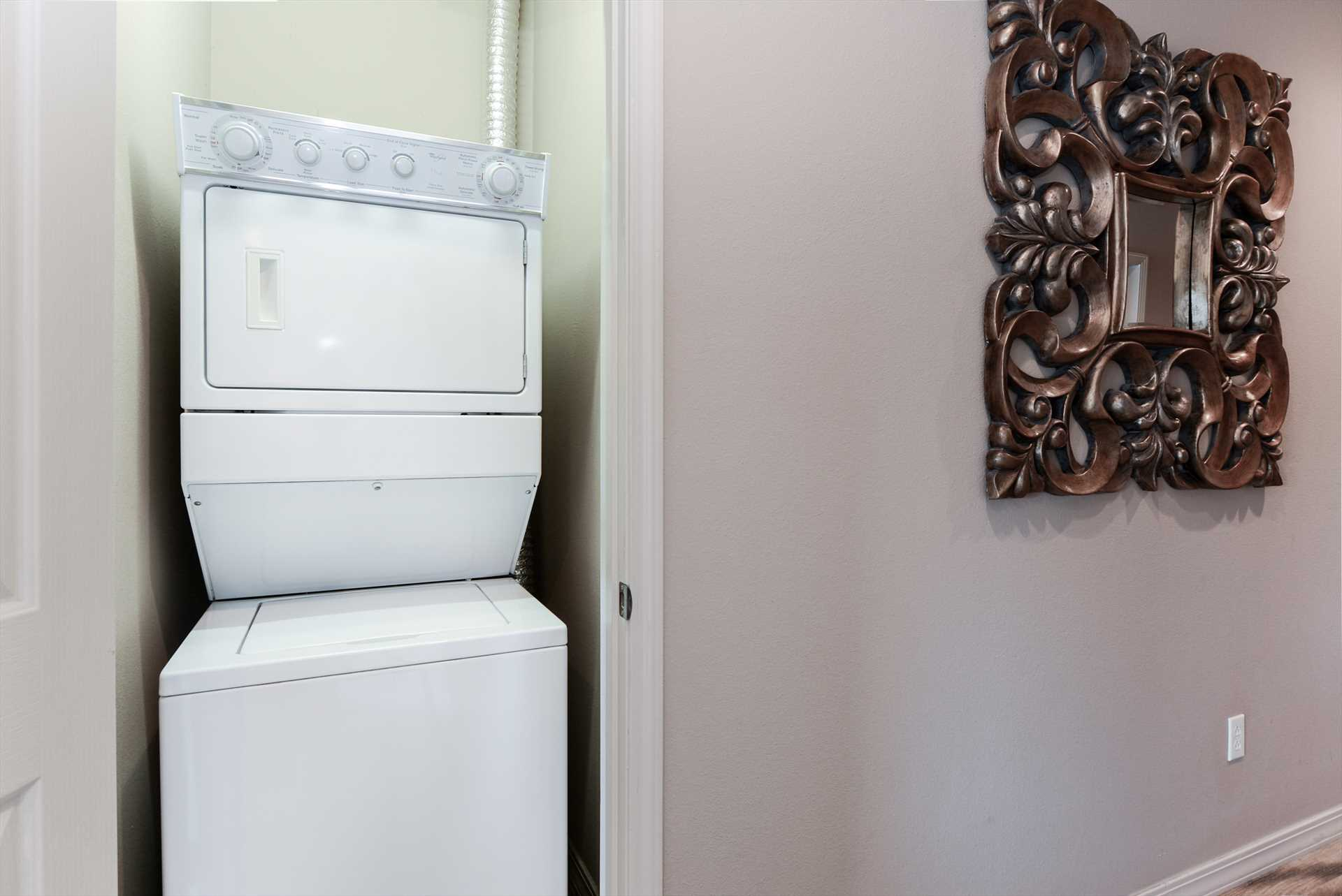 Unit includes washer and dryer.