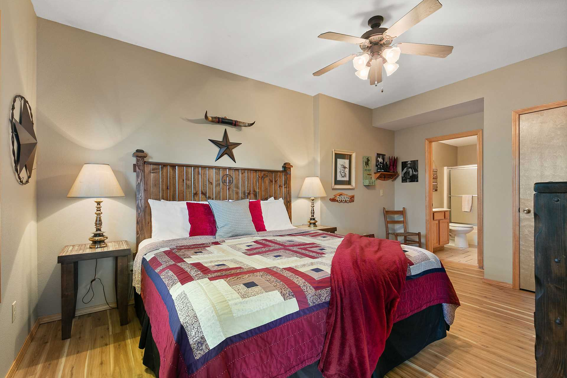 This lower level king bedroom has quick access to the back p