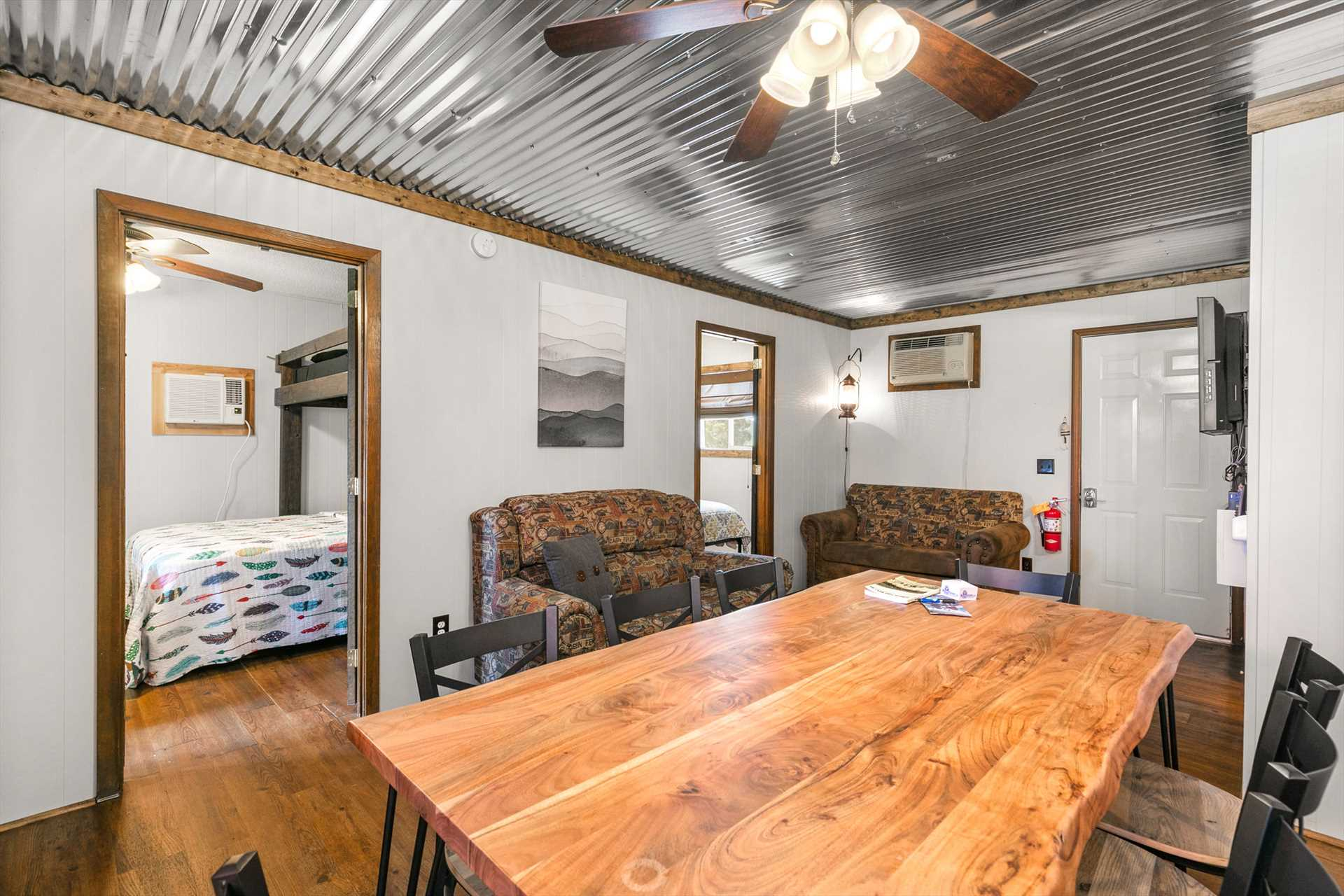 There are two bedrooms located off the living area and both