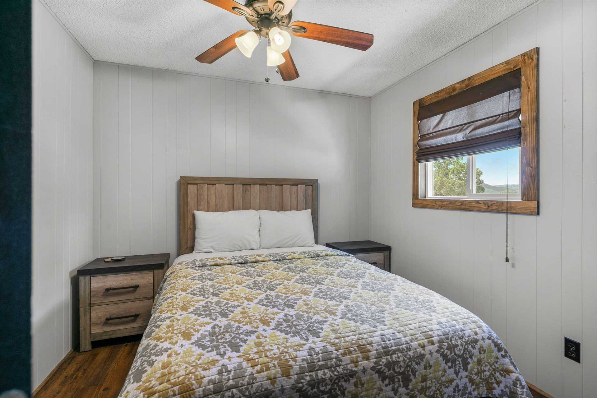The second bedroom has a queen size bed. (Cabin 10)