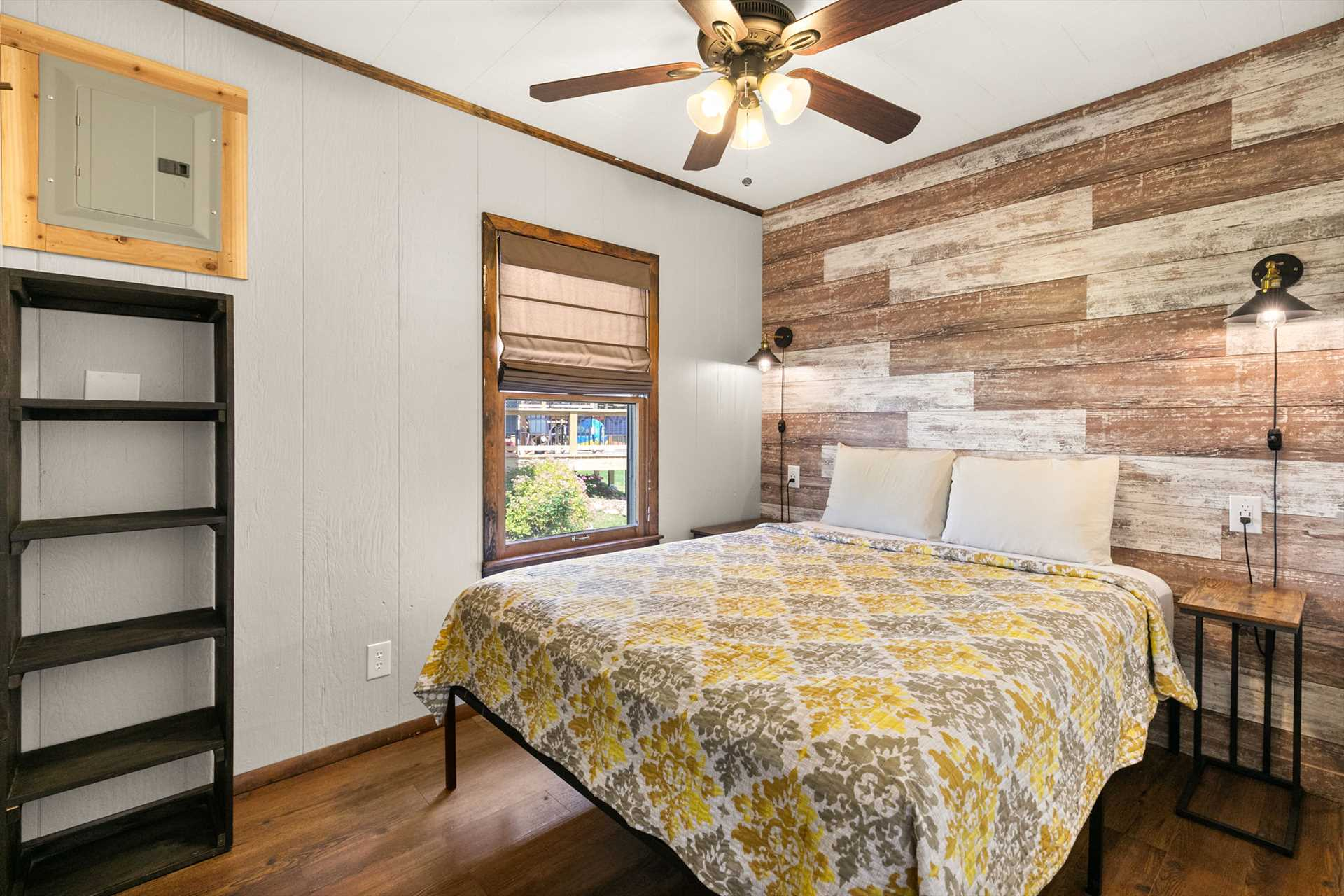 The first of two bedrooms has a queen-size bed.