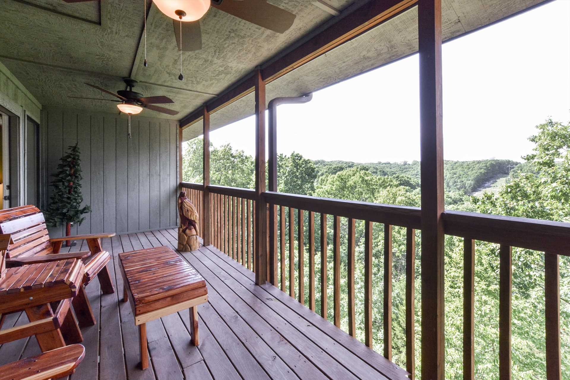 The private deck has stunning views of the acres of nature a