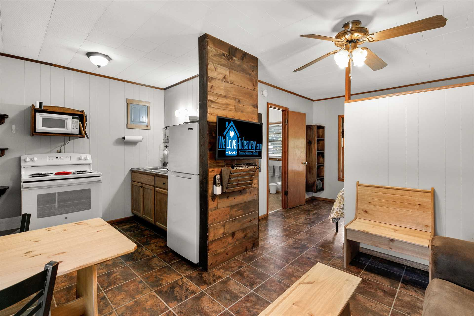 The living area is open to the kitchen.