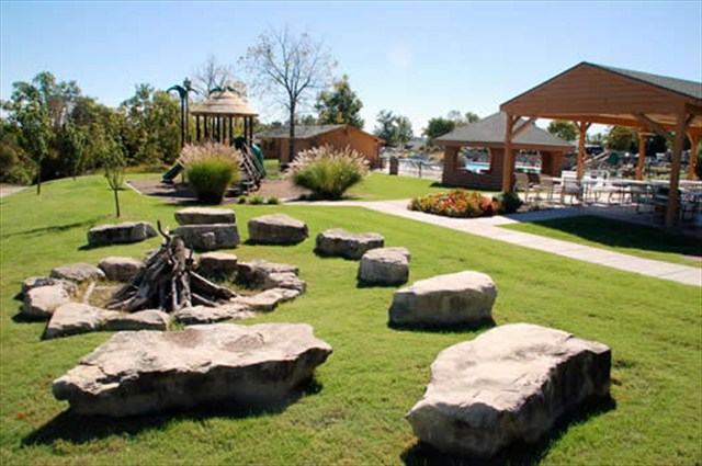 The bonfire area is perfect for cookouts or marshmallow roas