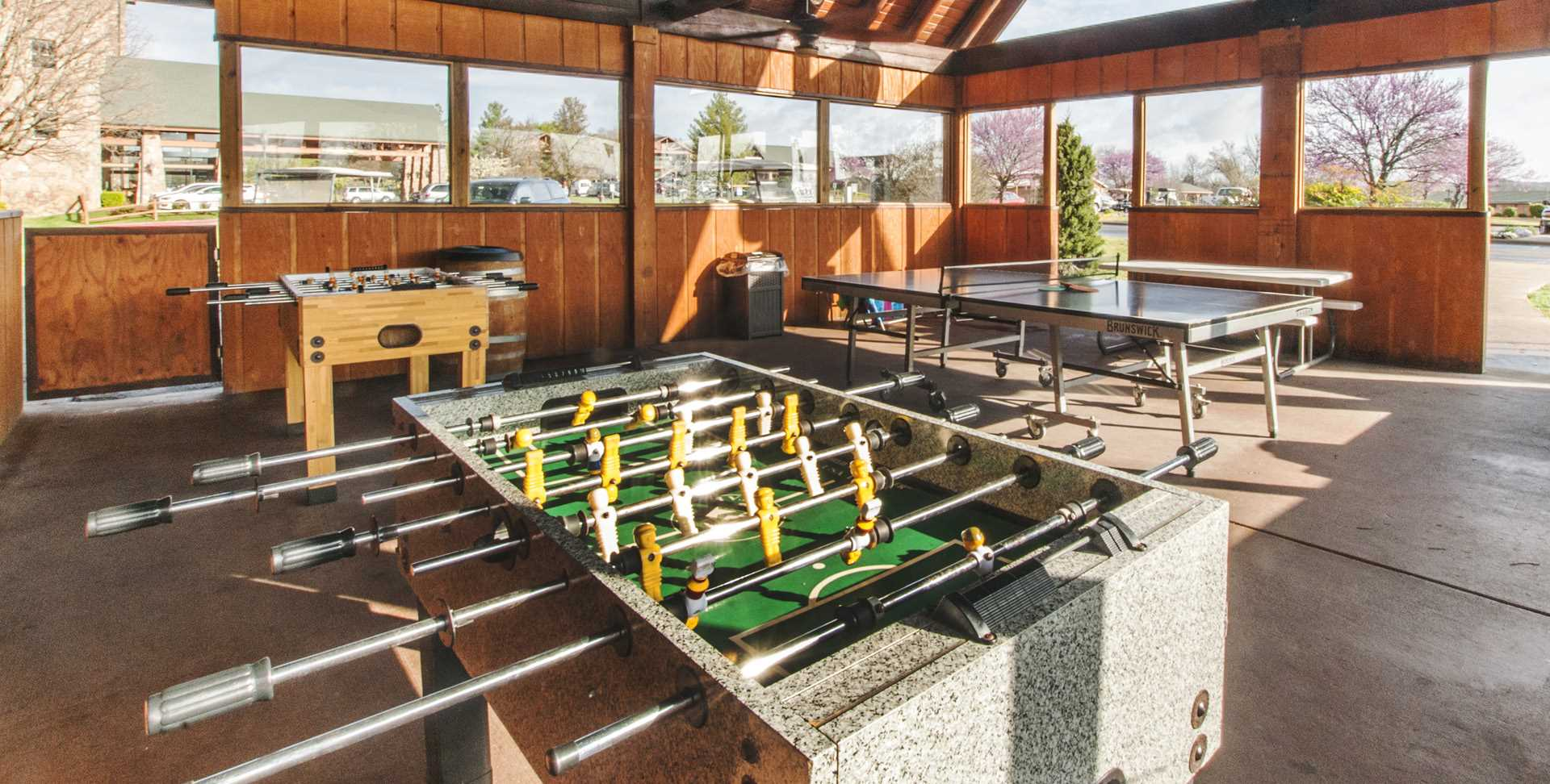 Game rooms outside and indoors.