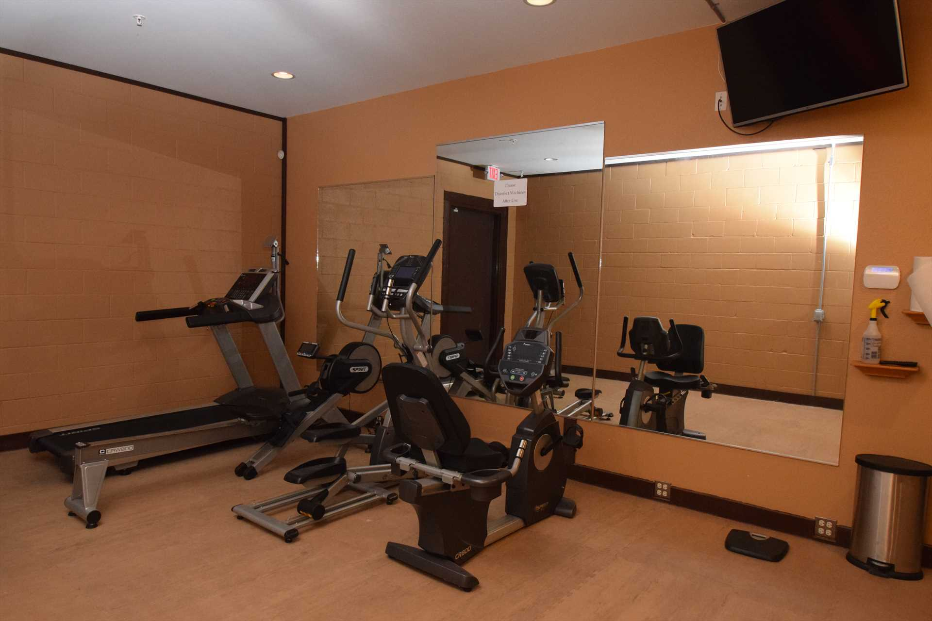 Nice fitness center right on site.