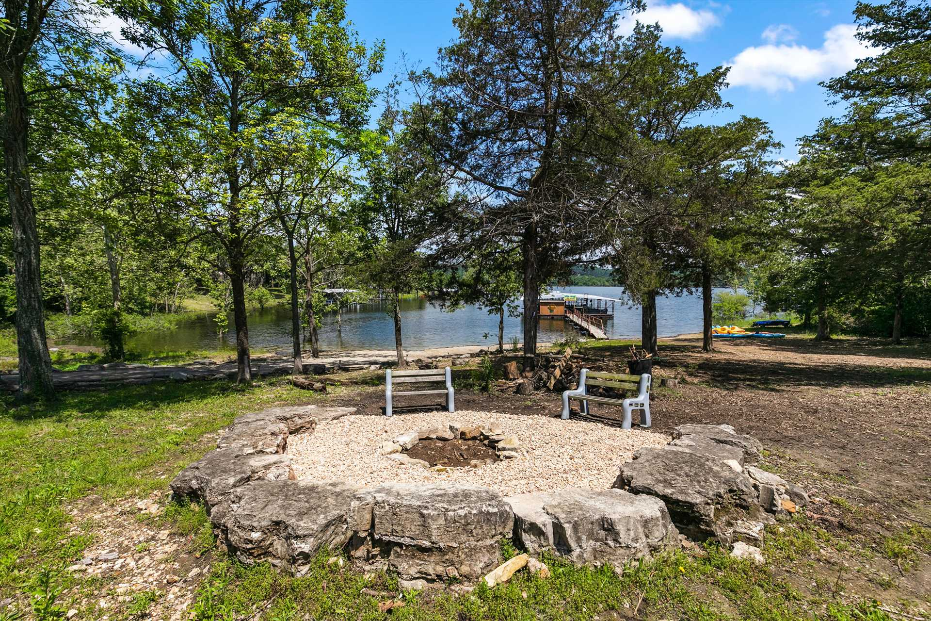 Both fire pits have great lake views.