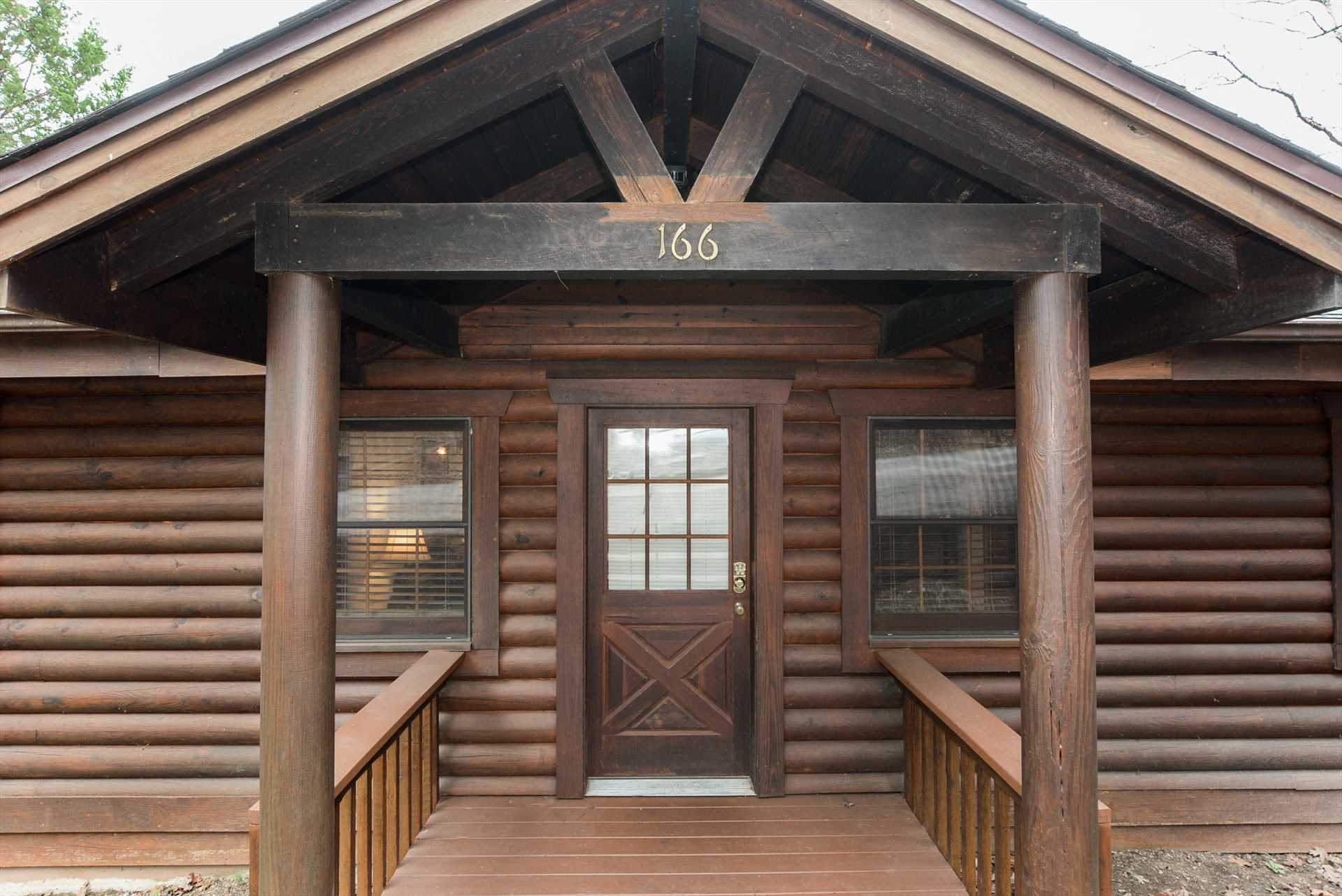 The genuine log cabin is perfect for your getaway.