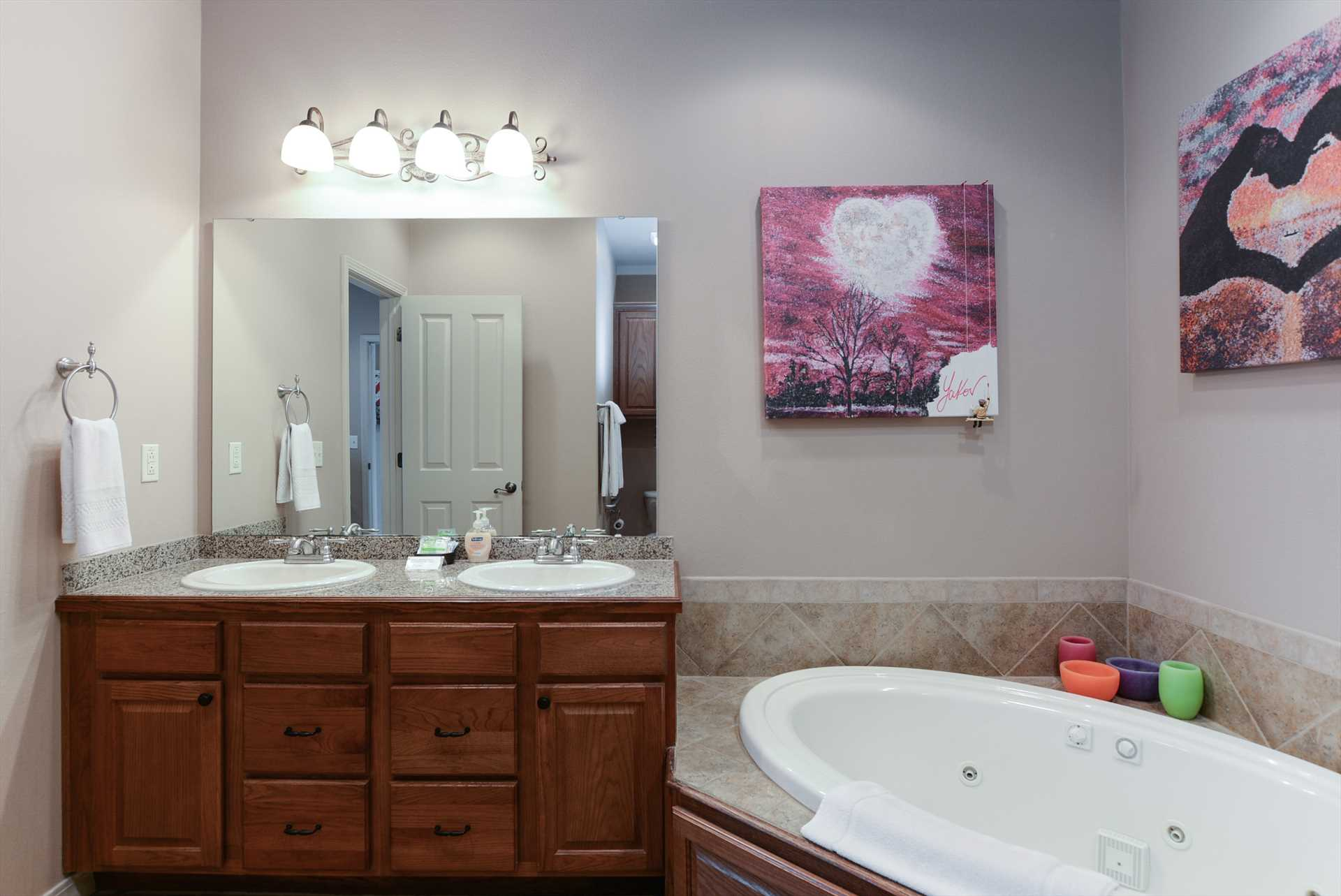 Large whirlpool bath ensures your stay is relaxing!