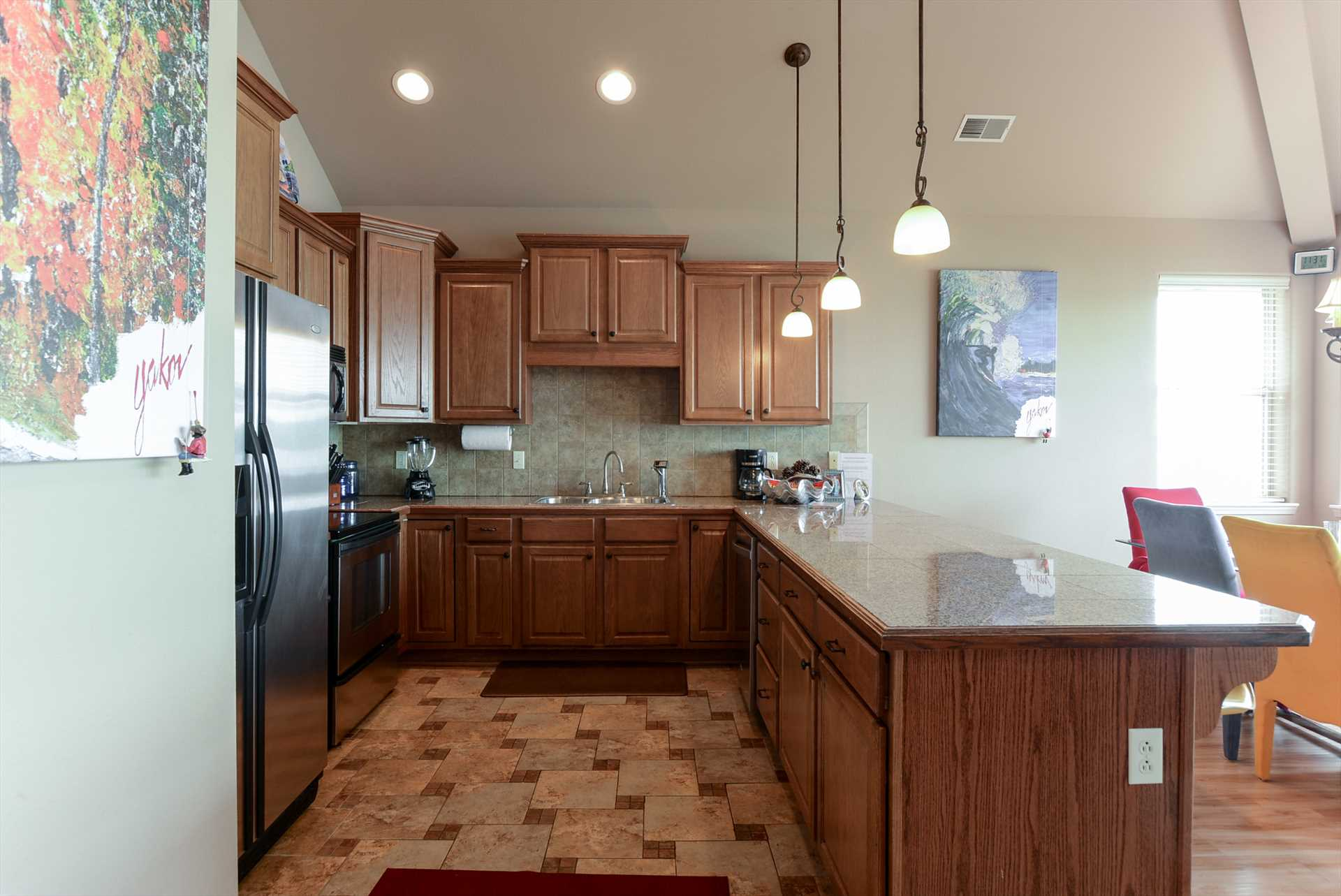 The fully-equipped kitchen is ready for any meal - large or
